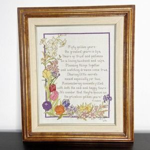 Vintage Fifty Golden Years Framed Needlepoint